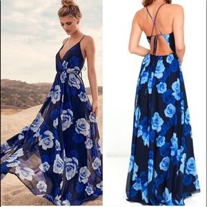 Lulus Only in Dreams Navy Blue Floral Maxi Dress